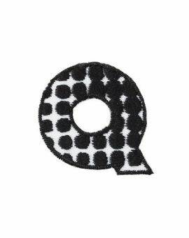 Iron-on letter Q zwart/wit