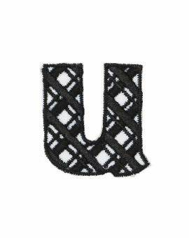 Iron-on letter U zwart/wit
