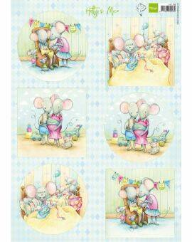 Decoupage Hetty's mice new born
