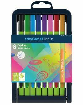 Fineliner schneider line-up verstelbare pencil case 8 stuks